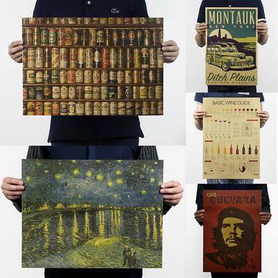 Prints/Vintage Poster History Bar Counter Adornment Retro Poster Wall Stickers 7