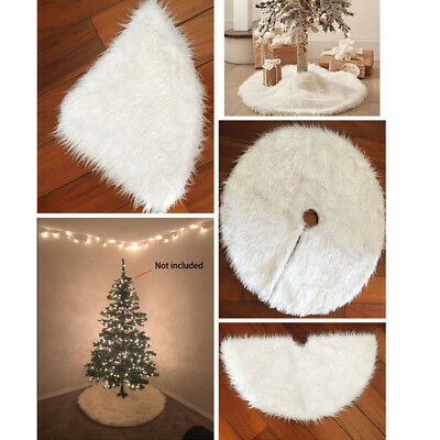 122cm Christmas Tree Skirt Plush White Stands Ornaments Xmas Party Decoration