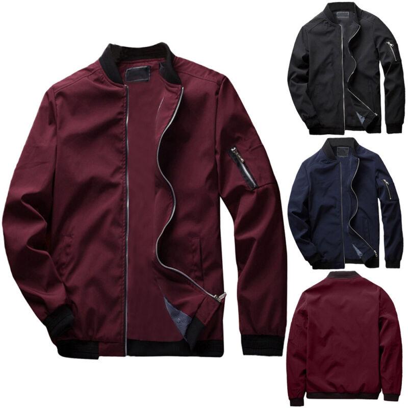 Men'S Zipper Business Jacket Fight Bomber Coat Thin Autumn Baseball Outwear CA 2