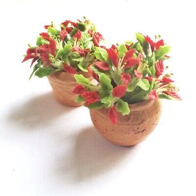 6 Clay Dollhouse Miniature Poinsettia Flowers,Christmas Plants,Christmas Decor 2