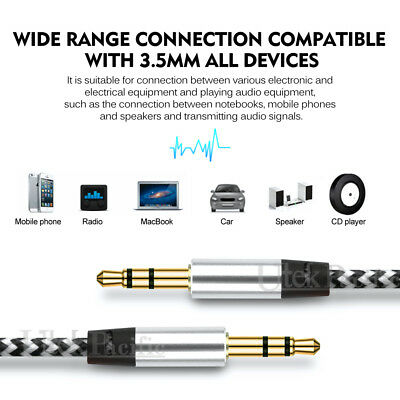 3.5mm Male to Male AUX Stereo Audio Cable Speaker Auxiliary Cord 3