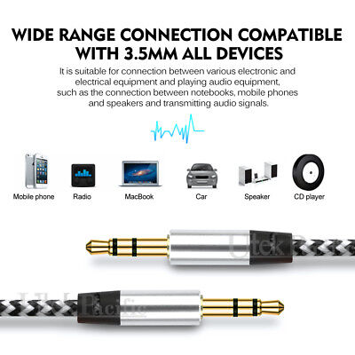 AUX Cable 3.5mm Stereo Audio Input Extension Male to Male Auxiliary Car Cord AU 3