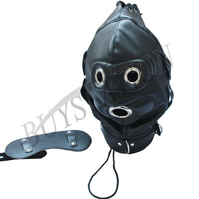 Lockable Leder Gimp Bandage Hood Sensory Deprivation Mouth Maske Mask Blindfold 11