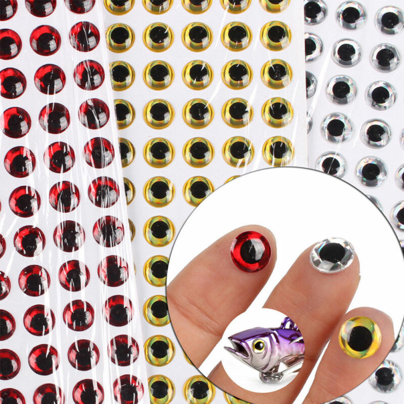 100X Fish Eye 7-12mm 3D Holographic Lure Fish Eyes Fly Tying Jigs Crafts Doll CN 4