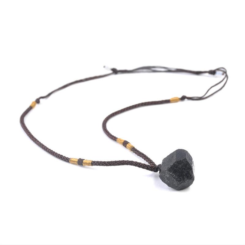 Men Black Tourmaline Stone Natural Crystal Gem Specimen Pendant Necklace JT 9