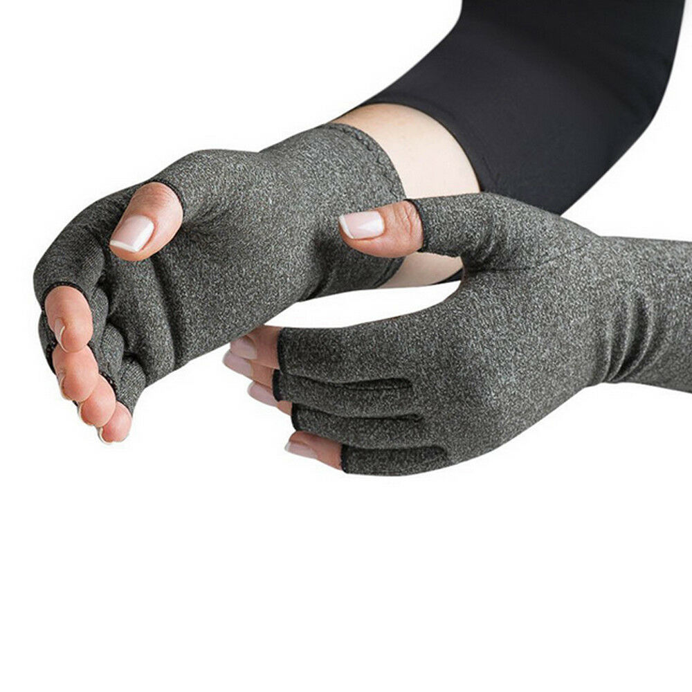 Compression Fingerless Gloves Anti Arthritis Finger Brace Support Pain Relief UK 7