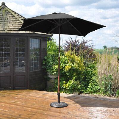 2.4 M Wooden parasol Umbrella Garden Patio NEW 2 summer colours 2