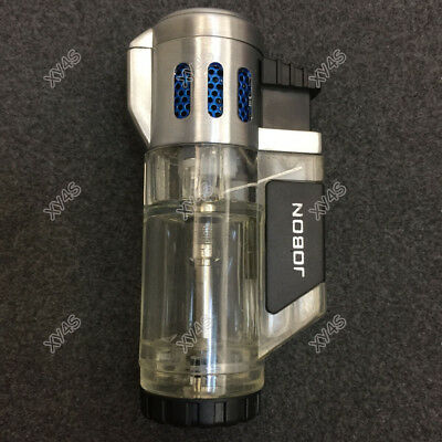 JOBON High-Capacity Triple Jet  Torch Lighter for Pipe Cigar Cigarette Silver 3