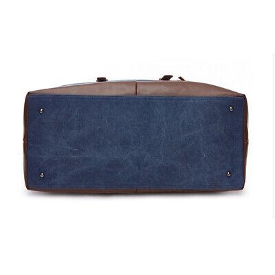 Vintage Men's Canvas Leather Travel Duffle Bag Shoulder Weekend Luggage Gym Tote 10
