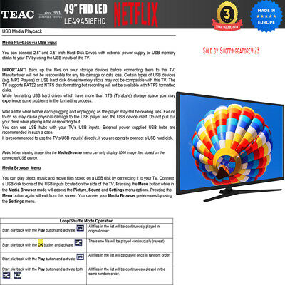 """TEAC 49"""" Inch FHD SMART TV Netflix Youtube Freevie Made In Europe 3Year Warranty 8"""