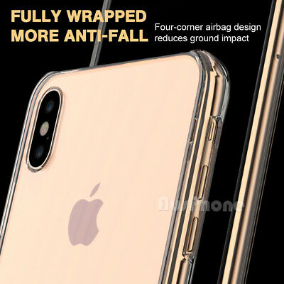 iPhone X XS Max XR 8 7 Shockproof Slim Crystal Clear  Hard Case Cover For Apple 5