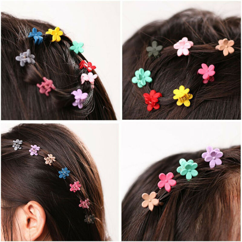 30pcs Kids Baby Girls Candy Colour Hairpins Mini Claw Hair Clips Clamp Flower 2