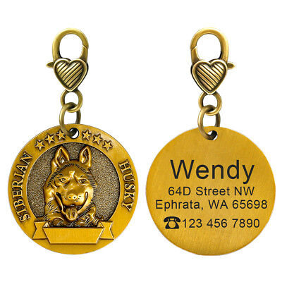 3D Dog ID Tags Engraved Personalized Metal Pet Custom Puppy Cat Name Tags Collar 7