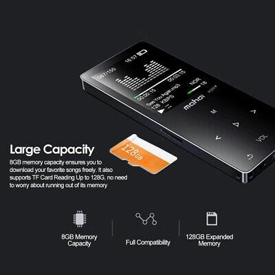 Bluetooth Digital MP3 Music Player Portable Support 128GB TF Card FM Radio Mini 8