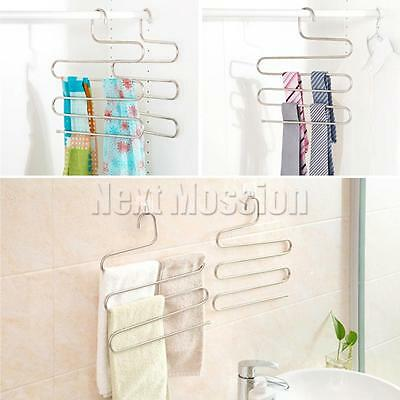1-10pcs Pants Clothes Hangers Trousers S Type Layer Holder Scarf Tie Towel Rack 9