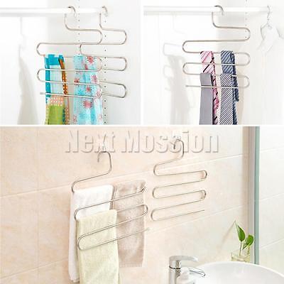 1-10pcs Pants Hangers Trousers S Type Layer Holder Scarf Tie Towel Rack Multi AU 9