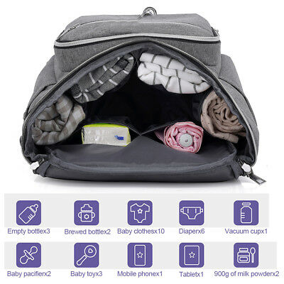 Large Mummy Diaper Bag USB/Earphone Port Baby Nappy Travel Backpack Bottle Hold 2