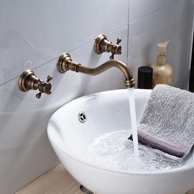 3Pcs Antique Brass Bathroom Basin Faucet Vanity Sink Faucet Mixer Tap Wall-mount 3