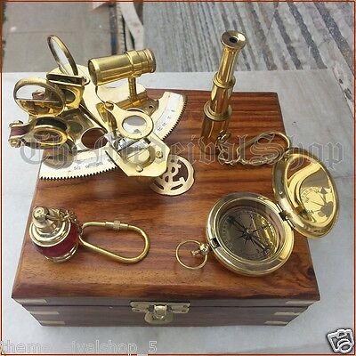 Nautical Brass Gift Set Vintage Maritime Compass/Telescope/Sextant W/Wooden Box 2