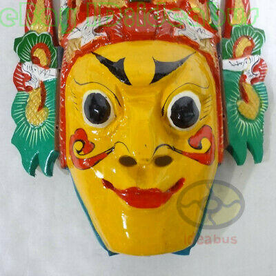 Chinese Folk Art Wood Hand Carved Painted NUO MASK Walldecor - Dixi(local drama) 8