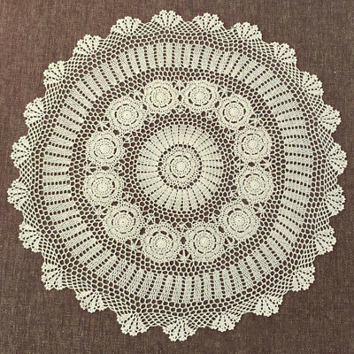 Round Hand Crochet Tablecloth Ecru Vintage Lace Table Cloth 35inch