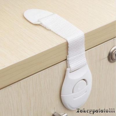 10X Child Adhesive Kid Baby Safety Drawer Door Lock Cupboard Cabinet Belt White 3