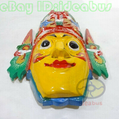 Chinese Folk Art Wood Hand Carved Painted NUO MASK Walldecor - Dixi(local drama) 5