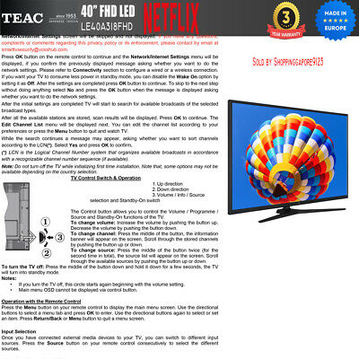 "TEAC 40"" Inch FHD SMART TV Netflix Youtube Freevie Made In Europe 3Year Warranty 5"