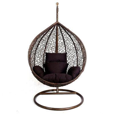 Hanging Rattan Swing Patio Garden Chair Weave Egg w/ Cushion In Outdoor 3