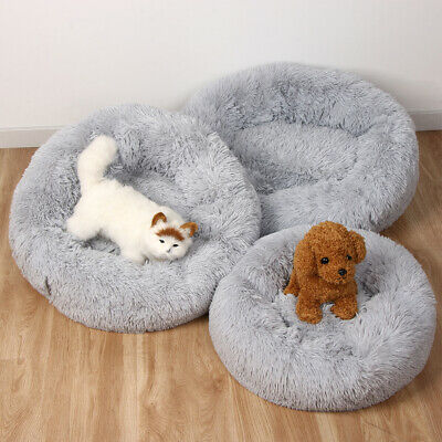 Donut Plush Pet Dog Cat Bed Fluffy Soft Warm Calming Bed Sleeping Kennel Nest 8