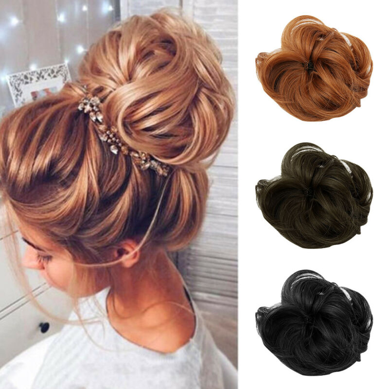 As Human Real Natural Curly Messy Bun Hair Piece Scrunchie Hair Extensions US 2