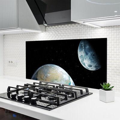 Küchenrückwand aus Glas ESG Spritzschutz 120x60cm Erdball Weltall