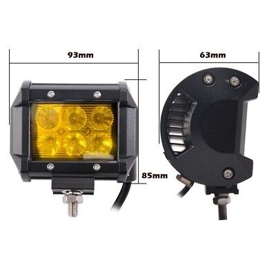 2x 4inch Flood LED Light Bar Offroad Boat Work Driving Fog Lamp Truck Yellow 4x4