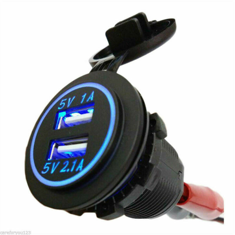 Dual USB Car Cigarette 12V Lighter Socket Splitter Charger Power Adapter Outlet 9
