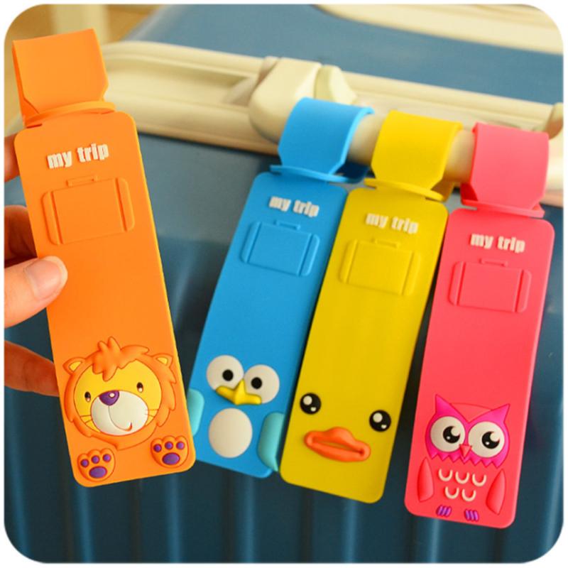 Luggage Suitcase Tag Cute Cartoon Cat Silica Gel ID Address Holder Baggage Label 2