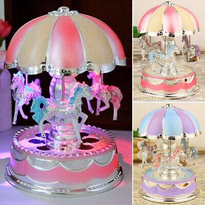 Vintage Horse Carousel Music Box Kids Toys Flash Light Musical Birthday Gifts US 6