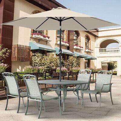 2.5M Round Garden Parasol Umbrella Patio Sun Shade Aluminium Crank Tilt 2