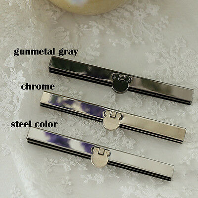 2 X Metal Coin Purse Frame Bar Edge Strip Wallet Bag Clasp DIY 11.5 cm Silver