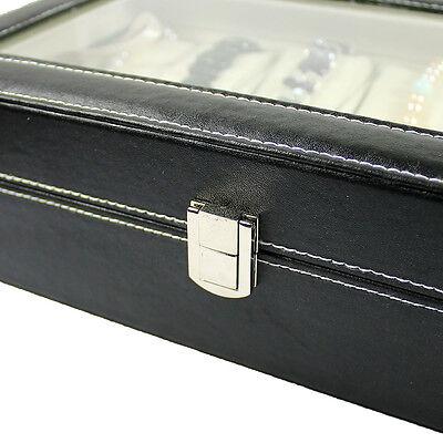 12 SLOT Watch Bracelet Leather Display Organizer Glass Top Jewelry