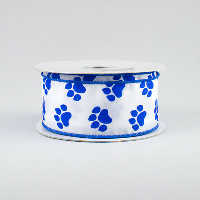 "10 Yards Pawprint Paw Print Dog Blue Wildcat Wired Ribbon 1 1//2/""W 30 Ft Roll"