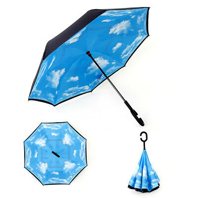 Windproof Upside Down Reverse Umbrella Double Layer Inside-Out Inverted C-Handle 3