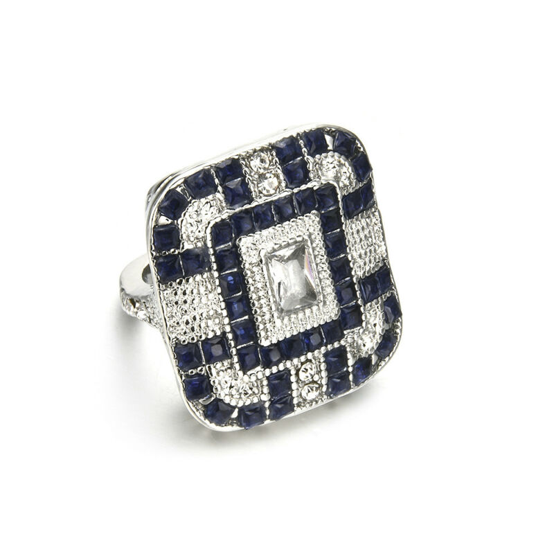 Antique Art Deco Large Jewelry Sterling Silver Blue Sapphire & Diamond Ring 9