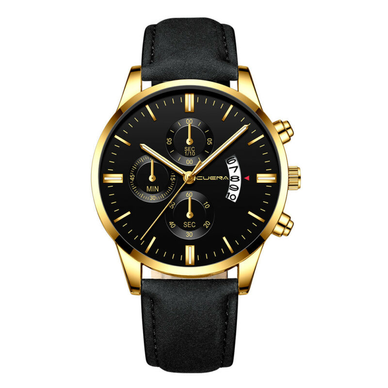 Fashion Sport Men's Stainless Steel Case Leather Band Quartz Analog Wrist Watch 7
