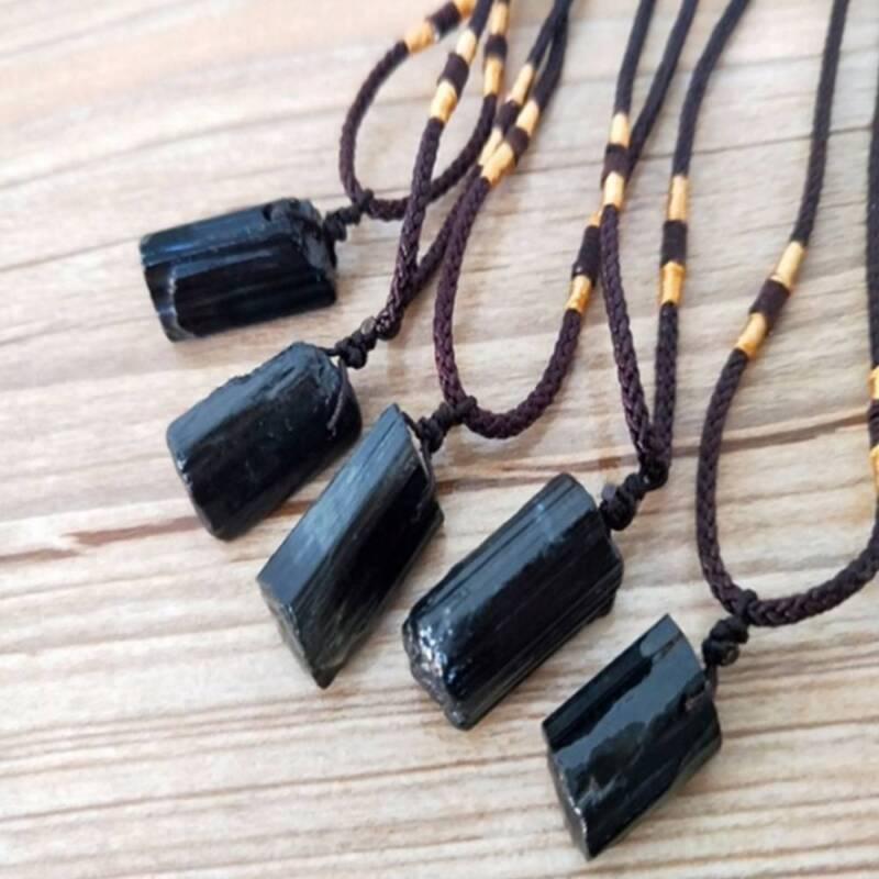 Men Black Tourmaline Stone Natural Crystal Gem Specimen Pendant Necklace JT 4