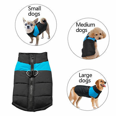 Waterproof Pet Dog Warm Padded Vest Coat Clothes Puppy Winter Jacket Apparel UK 8