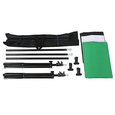 Photography Background Stand Kit + Photo Studio Black White Green Backdrop Set 10