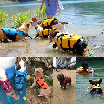 Pet Swimming Safety Vest Dog Life Jacket Reflective Stripe Preserver Puppy US 3