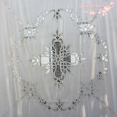 Vintage Style Battenburg Lace Shower CurtainPure CottonWhite7272