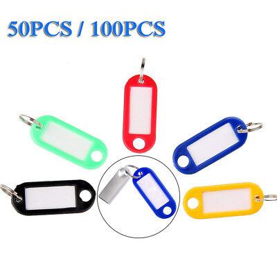 Lots 50-100PCS Tough Plastic Key Luggage Tags W/Split Ring Label Window 5-color 4