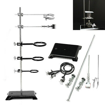 """60cm/24"""" Chemistry Lab Laboratory Stand Supplies Support Ring Base +3 Ring Clamp 2"""